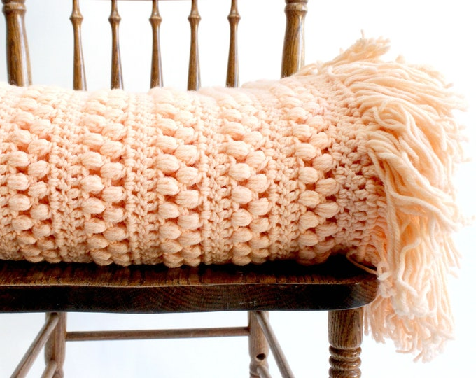 Featured listing image: Vintage Knit Blanket, Blush Pink Throw