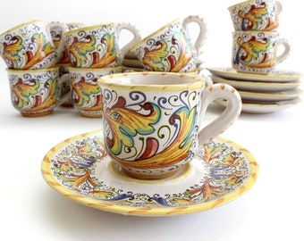Vintage Hand Painted Espresso Set, Mugs & Saucers, Made in Italy