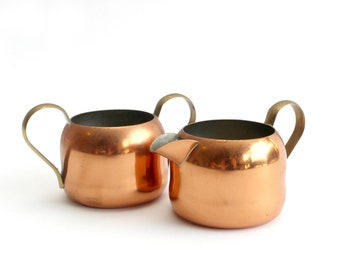 Copper Creamer & Sugar Dish, Rustic Kitchen Decor