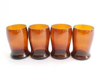 Vintage Amber Glass Tumblers, Half Pint Beer Glasses