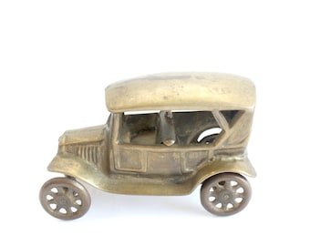 Brass Car Figurine, Automobile Collectible, Father's Day Gift