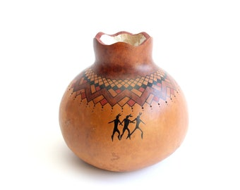 Native American Decorative Gourd, David Snooks Artist, Washoe Tribe Folk Art