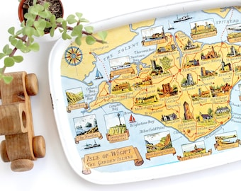 Isle of Wight, Picture Map, Vintage Metal Tray