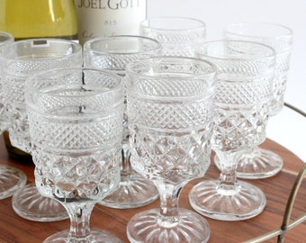 Vintage Wine Glasses, Pressed Glass Cocktail Glasses