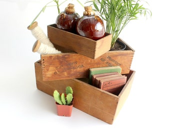 Vintage Wood Storage Boxes, Stacking Bins, Indoor Planters,