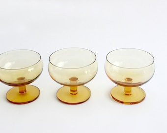 Amber Glass Ice Cream Cups, Yellow Serving Dishes, Set of 6 Small Bowls