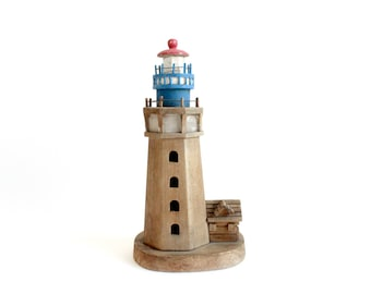 Handmade Wooden Lighthouse, Vintage Beach House Decor