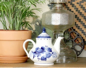 Blue and White Teapot, Hand Painted Teapot
