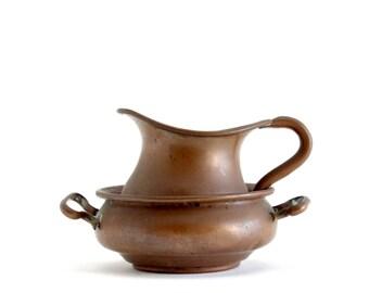 Copper Creamer & Dish Set