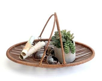 Vintage Basket Tray, Natural Woven Rattan Bowl