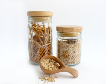 Glass Kitchen Canisters & Wooden Scoop