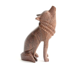 Arizona Ironwood Wolf Figurine, Hand Carved Sculpture