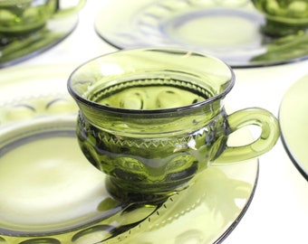 Vintage Green Glass Plates & Cups, Matching Plate and Cup Set, Dinnerware