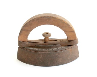 "Antique ""sad"" Iron with Wood Handle, Vintage Prop, Paperweight"