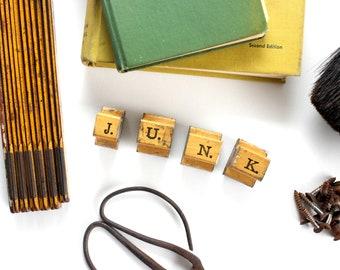 Vintage Letter Stamps, Individual Letter Stamps That Spell J-U-N-K