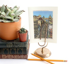 Brass Paperclip Note Card/Photo Holder, Mid Century Office Decor