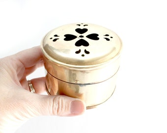 Brass Trinket Box, Round Jewelry Box, Gift Box