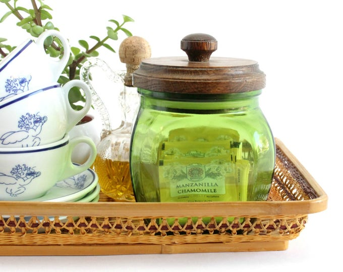 Featured listing image: Kitchen Canister, Green Glass Jar With Wood Lid