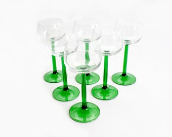 Green Stem Wine/Brandy Glasses, French Cocktail Glasses, Vintage Glassware