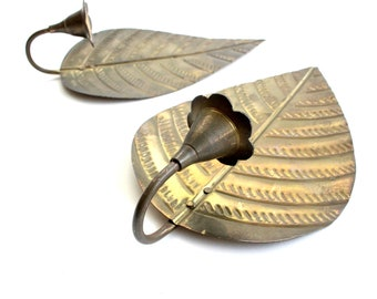 Brass Leaf Wall Decor, Hanging Candle Holder