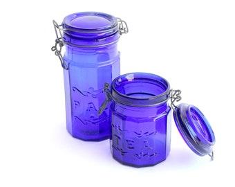 Cobalt Blue Glass Canisters, Kitchen Storage, Tea Canister, Pasta Jar
