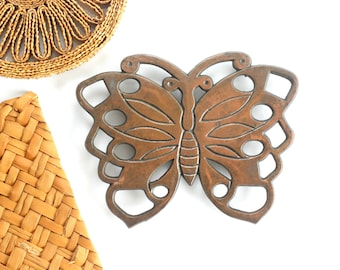Brass Butterfly Hot Plate, Vintage Trivet, Mid Century Wall Decor