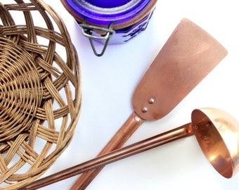 Copper Cooking Utensils, Vintage Spatula & Ladle