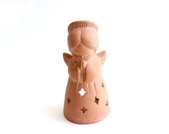 Terra-cotta Angel Tea Light Candle Holder, Vintage Christmas Decor