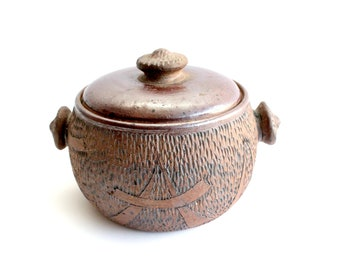 Vintage Stoneware Bean Pot, Ceramic Crock Pot, Bohemian Kitchen Decor
