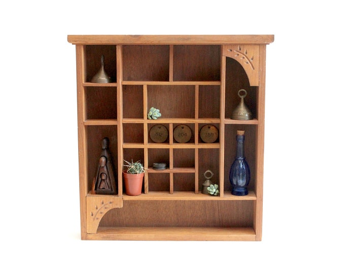 Featured listing image: Vintage Wooden Curio Shelf, Wall Hanging Curio Box