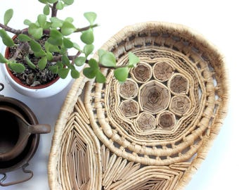 Natural Woven Oval Basket Tray, Wicker Flower, Bohemian Style Home Decor
