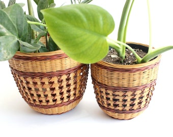 Vintage Chinese Baskets, Woven Bamboo Baskets, Indoor Planters