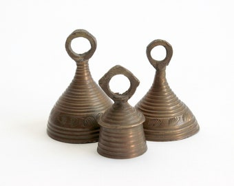 Vintage Brass Bells, Collection of 3 Bells Made in India