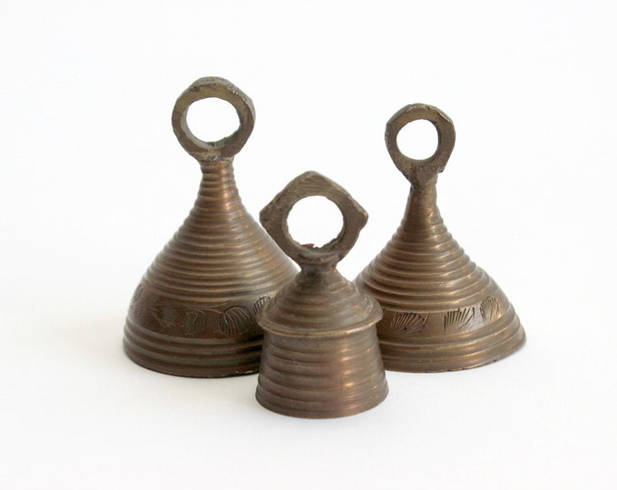 Featured listing image: Vintage Brass Bells, Collection of 3 Bells Made in India