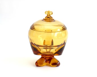 Hand Blown Glass Candy Dish, Vintage Yellow Glass Bowl with Lid, Decorative Urn