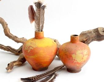 Vintage Mexican Clay Pottery, Rustic Orange Ceramic Pots