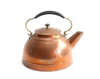 Vintage Copper Tea Kettle, 1960s Cookware, Revere Copper & Brass Corp.