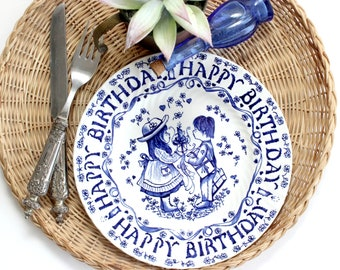 Blue & White Decorative Plate, Happy Birthday Plate From Yesterday's Children Royal Crownford