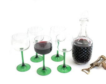French Wine Glasses, Green Long Stem Wine Glasses