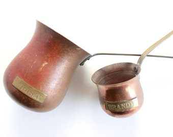 Copper & Brass Liquor Ladles, Vintage Barware, Cocktail Accessories