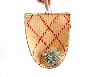 Hanging Woven Basket, Air Plant Holder, Bamboo Wall Basket