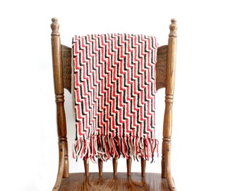 Vintage Wool Afghan, Red & Black Knit Throw Blanket