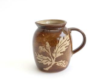 Vintage Glazed Ceramic Pitcher, Handmade Clay Vase, Fall Home Decor, Thanksgiving Tableware