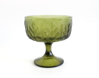 Green Glass Pedestal Bowl, Candy Dish
