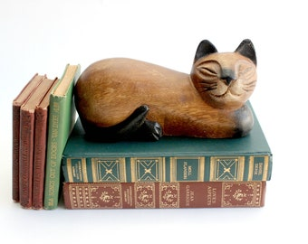 Carved Wooden Cat Figurine, Animal Decoration