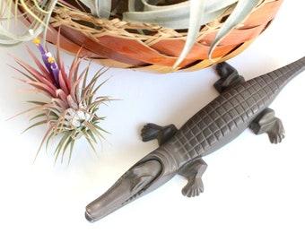 Vintage Brass Alligator Figurine, Animal Lover's Gift