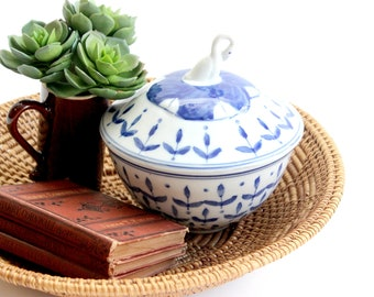 Blue & White Decorative Bowl, Hand Painted Bowl and Lid, Porcelain Candy Dish
