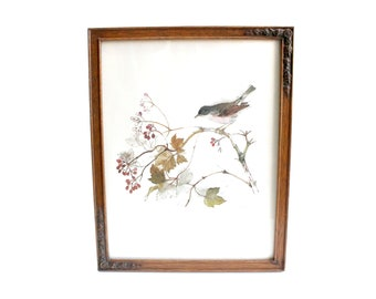Vintage Signed & Framed Art Print, Wall Decor, Bird Lover's Art