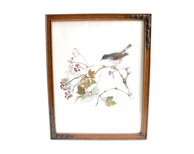 Featured listing image: Vintage Signed & Framed Art Print, Wall Decor, Bird Lover's Art