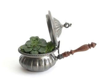 Vintage Italian Pewter Pot, Long Handled Pot With Lid